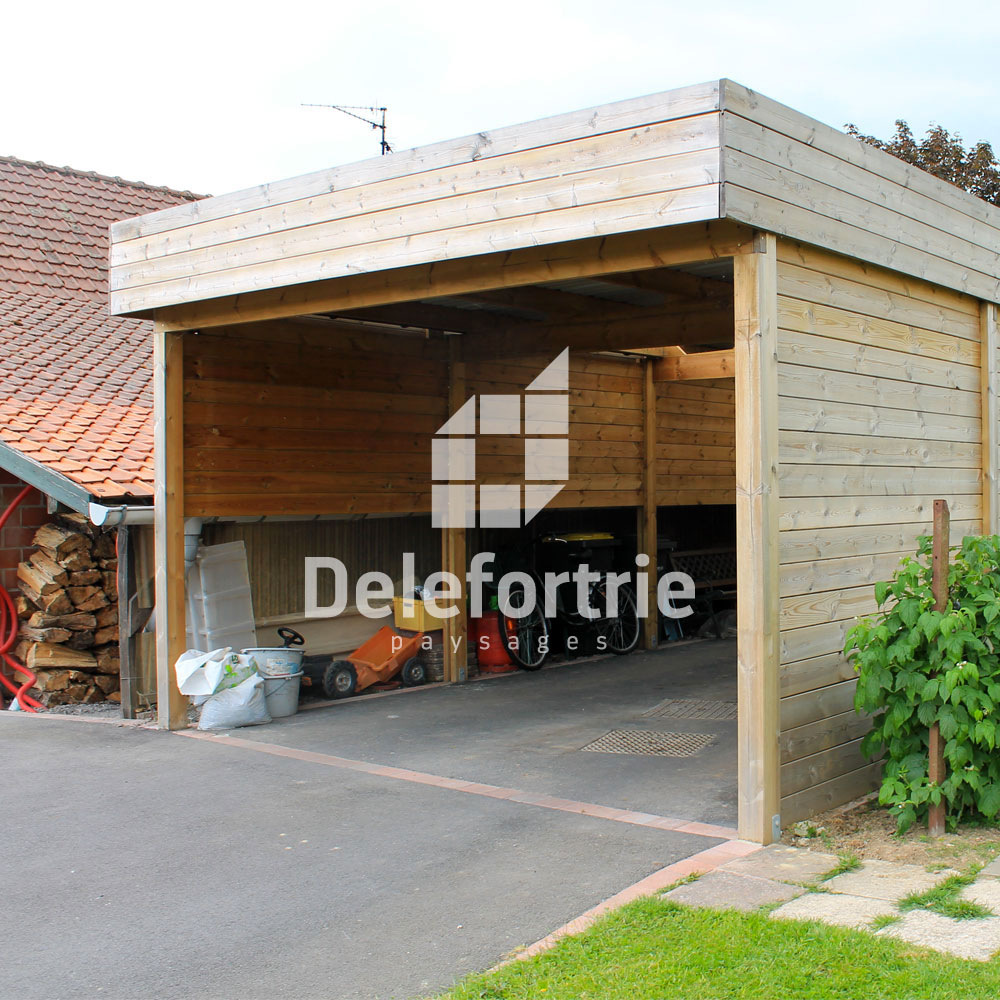 carport en bois delefortrie paysages. Black Bedroom Furniture Sets. Home Design Ideas