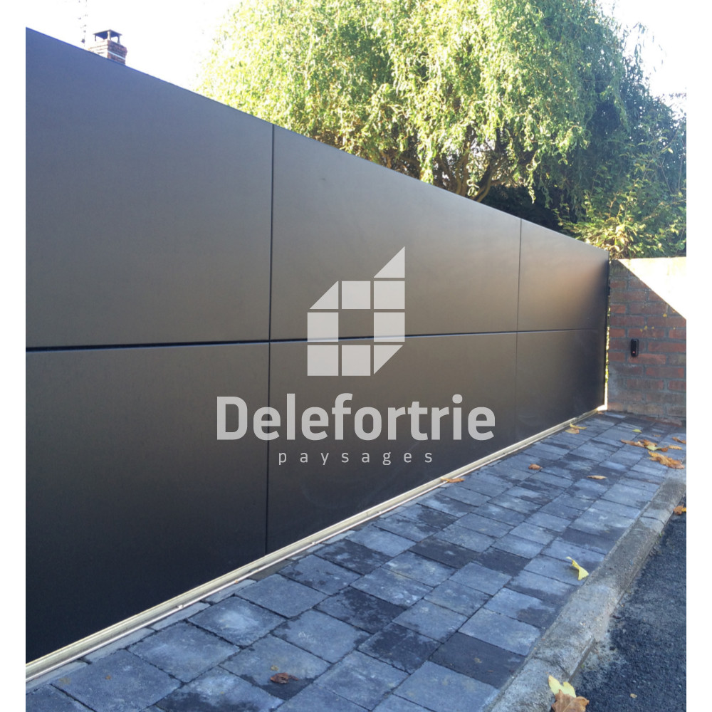 portail alu moderne coulissant escobecques delefortrie paysages. Black Bedroom Furniture Sets. Home Design Ideas